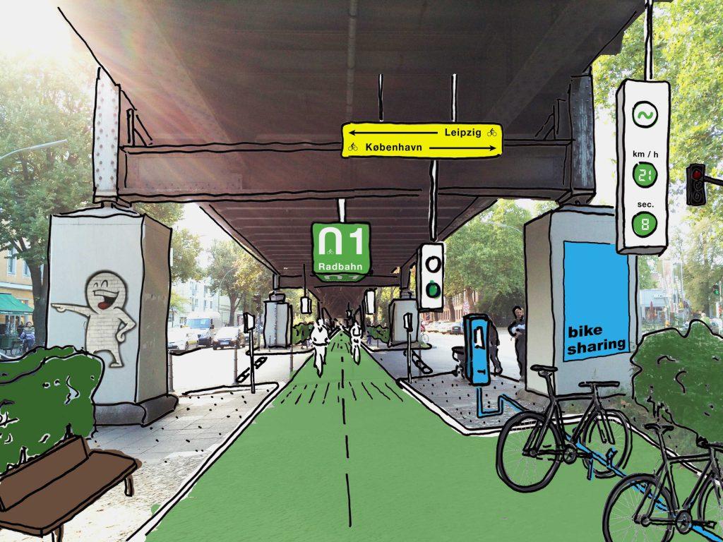 Sinalização com energia renovável gerada pelo pavimento da ciclovia.Radbahn/Divulgação